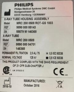 Philips FD10 Tube - MRC200 9890 000 85143 Specifications   PhiGEM